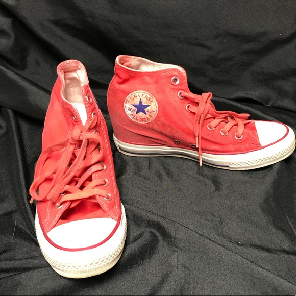 c827dae3217 Converse Shoes - Distressed red Converse wedge. Women s size 9.